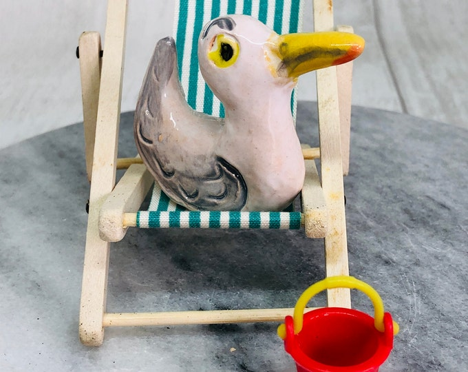 Seagull Pottery Ornament, Mini Fun Gull, Comical Bird, Anniversary, Birthday, Quirky, her, him, Friends Gift, Beach, Mothers Day, Easter.