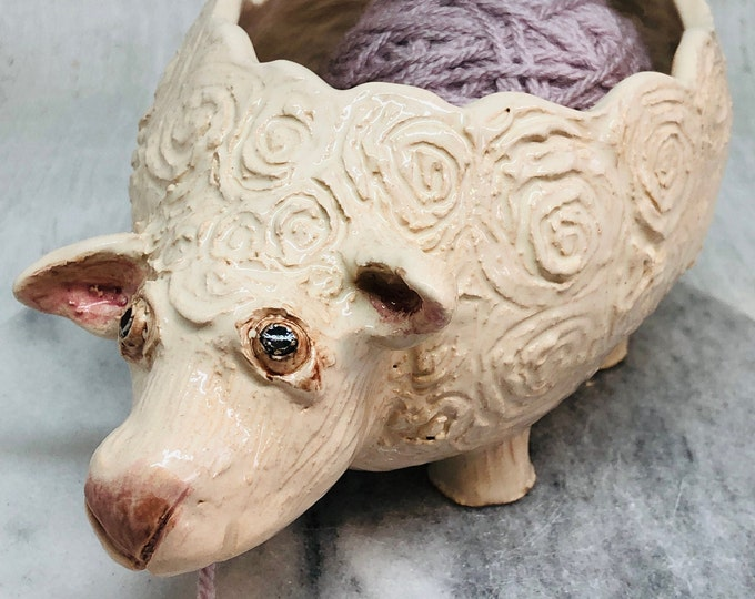 Vera the Sheep Yarn Bowl, Handmade Pottery, Ceramic Sculpture, Clay, Crafts, Farm, Gift for Her, Him, Love Knitting, Knit, Valentines Day