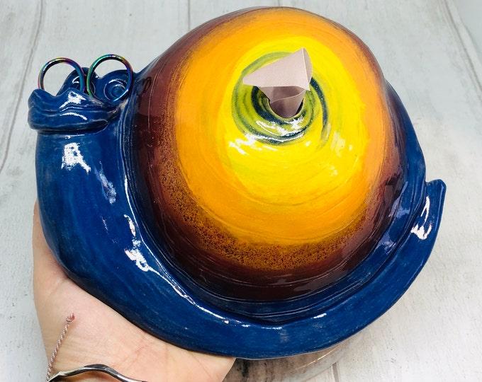 Crafty Scissor & Ribbon Pottery Container, Ceramic Sammy The Snail, Home Decoration, Home Interiors, Handmade Ceramics Sculpture, UK.