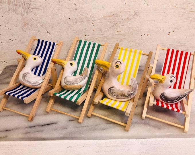 Fun Seagull Pottery Ornament, Funny Ceramic Bird, Beach, Miniature Deckchair, Mini, Home Decorations, Home Interiors, Handmade Ornaments.