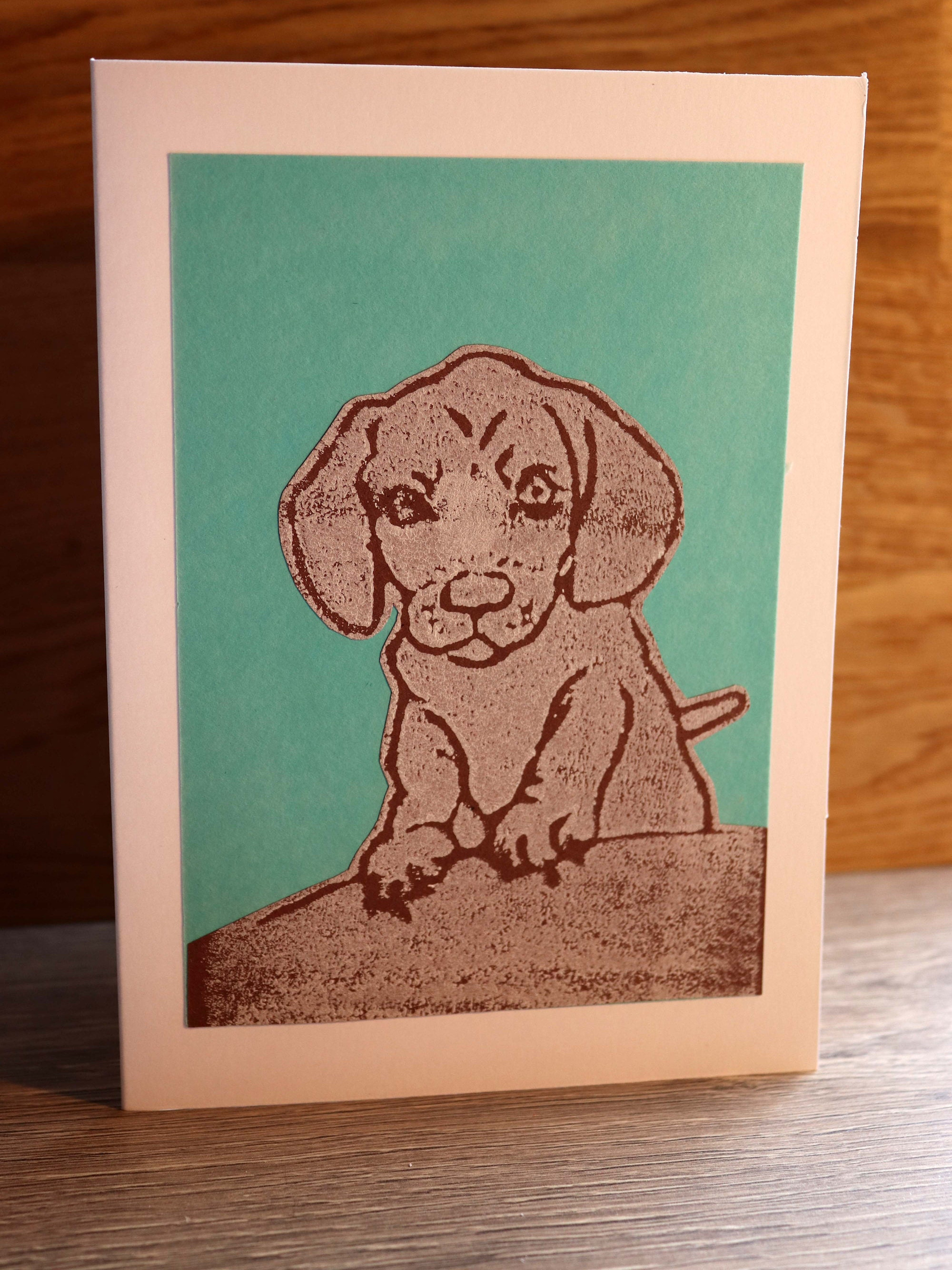 Dachshund Greeting Card Blank Inside Hand Printed And Paper Cut On