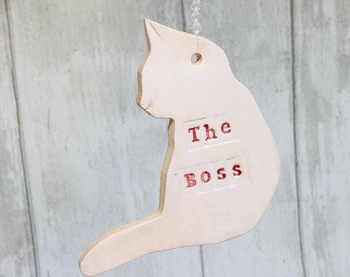 Handmade Pottery Cat, Love Cats. Ceramic Cat Friend, Kitty Cat, The Boss, Kitten, Clay White Cat, Sussex Ceramics, UK.