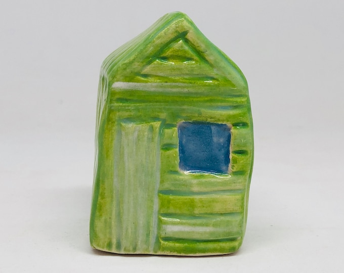 Green Beach Hut Pottery Ornament, Gift for him, Beach Huts, Dad, Husband, Anniversary, Birthday, Paper Weight, Seaside, Easter, Fathers Day.