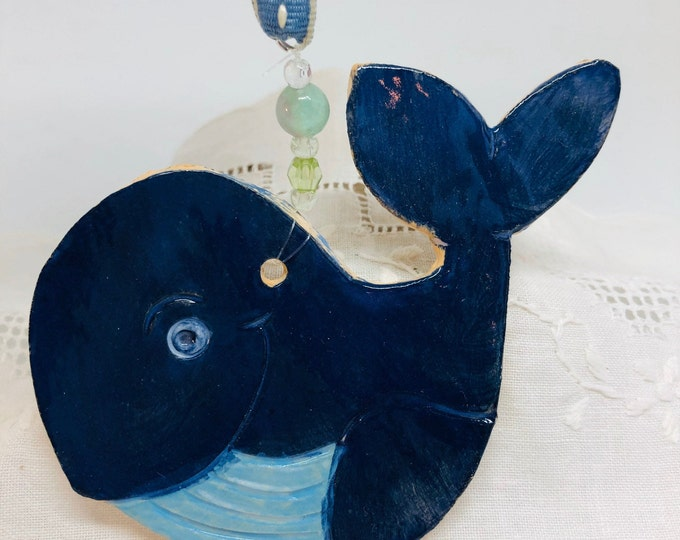 Whale Pottery Ornament, Ceramic Hanging Decoration, Handmade Clay Ornament, Sea, Whales, Seaside, Fired In My Kiln In Sussex UK.