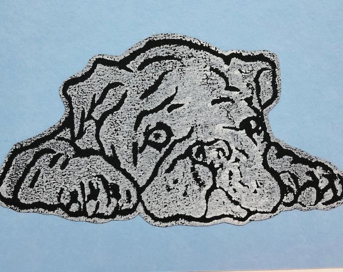 British Bulldog Dog Hand Printed Card, Handmade Greetings Card, Love Dogs, Woof, Hand Printed Birthday Card, Anniversary, Pet.