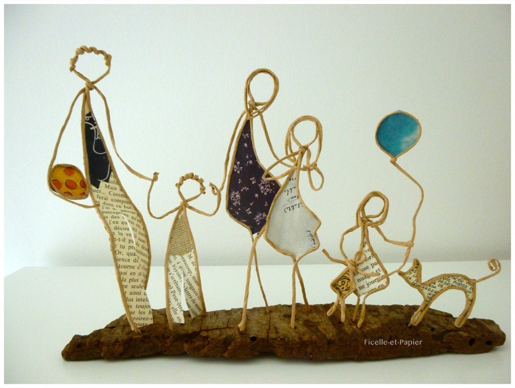 Deco Chambre Maryline Monroe family walk figures string figurines and original gift paper or  personalized parents children cat sculpture wire wire armed driftwood