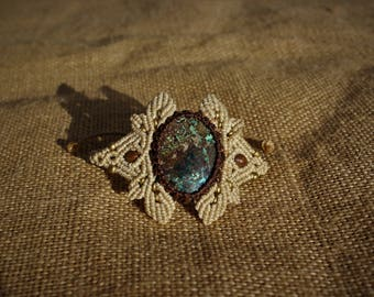 Macrame bracelet beige and Brown with chrysocolla stone