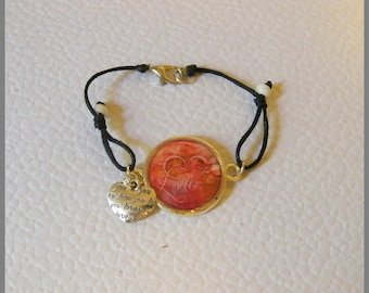"""""""Love"""" - dome bracelet made of resin and metal"""