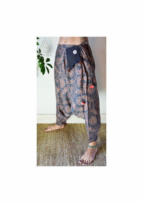 Womens Casual Cotton Pant Baggy Trouser Boho Ali Baba Festival Free Size 8-12
