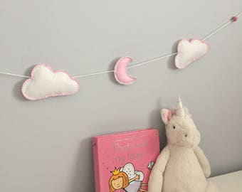 Cloud & Moon Felt Garland Nursery Wall Hanging Bunting