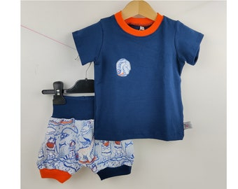 12 months, 18 months - shorts and t-shirt in cotton jersey for baby, Viking pattern