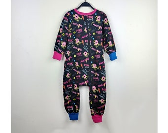 4/5 years, children's suit, onepiece jumpsuit zipped in scratched sweatshirt donut pattern