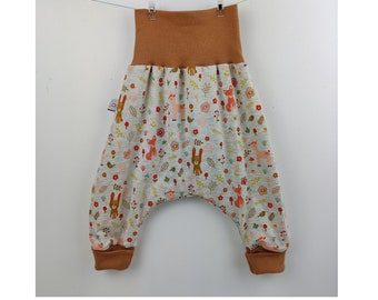 12 months, 24 months, summer evolutionary sarouel for baby in organic cotton jersey, small animals of the forest motif