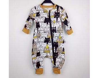 2/3 years, jumpsuit for children, onepiece jumpsuit zipped in sweatshirt scratched pattern cats