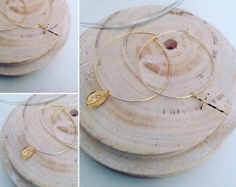 ROSARY gold plated hoop earrings