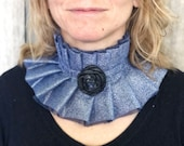 Victorian hight collar with rose Blue ruffled collar Edwardian wide choker Renaissance outfit