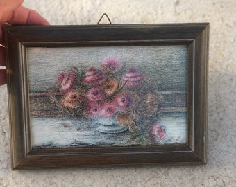 Vintage 70s framed  flowers painting Floral small oil painting