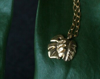 Save the Rainforest Leaves Necklace // Handmade Jungle Leaf Pendant // Sterling Silver and Gold Vermeil // Tropical Cheese Plant Jewelry