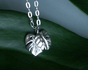 Save the Rainforest Leaves Necklace // Sterling Silver Handmade Jungle Leaf Pendant  // Tropical Plants Jewelry // Eco Rainforest Charity