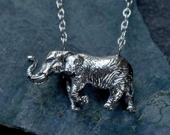 Handmade African Elephant Necklace //Save the Elephants Conservation Jewellery // Sterling Silver Necklace // Gift for Elephant Lovers