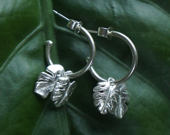 Rainforest Conservation Hoops // Handmade Jungle Leaf Earrings in 925 Sterling Silver  // Tropical Leaves Jewelry // Wild Armour Jewellery