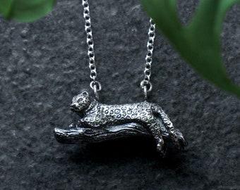 Handmade Jaguar Conservation Necklace // Sterling Silver Big Cat Jaguar Leopard Pendant // Wild Armour // Wildlife Conservation Jewellery