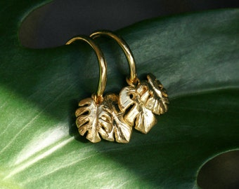 Gold Rainforest Conservation Hoops // Handmade Jungle Leaf Earrings in Sterling Silver and 18ct Gold Vermeil // Wild Armour Jewellery