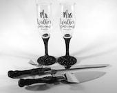 Black Glitter Wedding Decor Toasting Glasses and Cake Knife Server Set, Mr and Mrs Champagne Flutes, Mr Mrs Toasting Flutes, Personalized