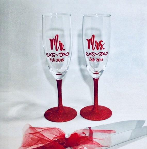 Red Glitter Wedding Decor Toasting Glasses And Cake Knife Etsy