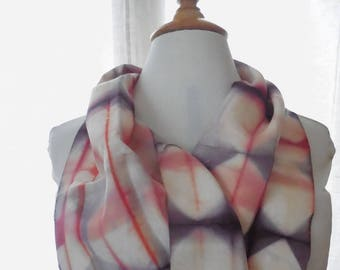 Off white and purple pink silk scarves