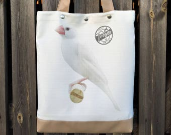 Bird bag, handmade shopping handbag, vegan hobo bag, Everyday bag, yoga shopper bag, weekender ladies bag, bird shoulder bag