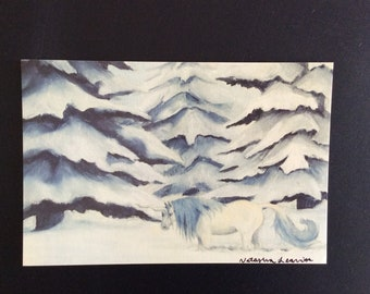 Winter Unicorn Postcard