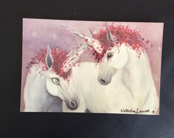 Red Ivy Unicorn Postcard