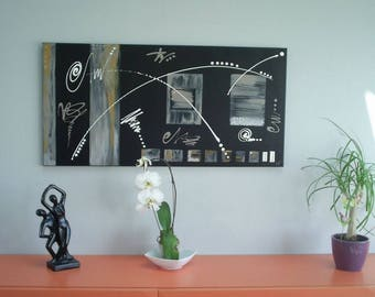 Contemporary painting 'life is beautiful': black, taupe, Brown, o