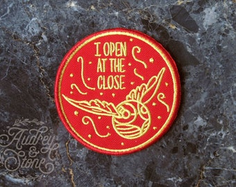Harry Potter Fan Patch | Embroidered | Patches | I Open at the Close | Golden Snitch | Magic | Hogwarts | Spells | Quidditch | Gryffindor