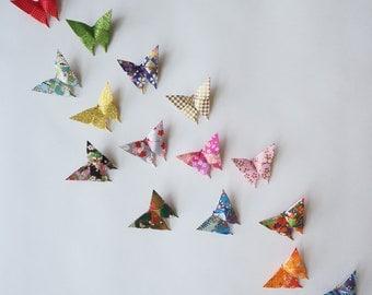 Pack of 10 Small Handmade Japanese Washi Paper Origami Butterflies, Decoration, Wedding, Birthday, Wall Sticker, Custom