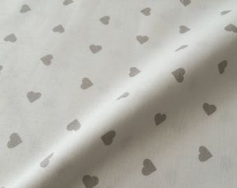 Ivory 100% cotton fabric with hearts Greige (grey / Beige)