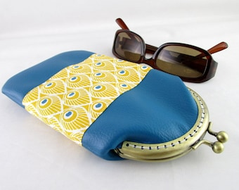 Glasses case in faux leather fabric and Teal Yellow Peacock feathers