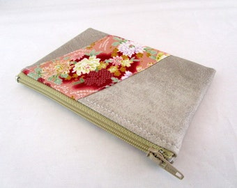 Wallet in faux leather fabric and beige effect Japanese floral