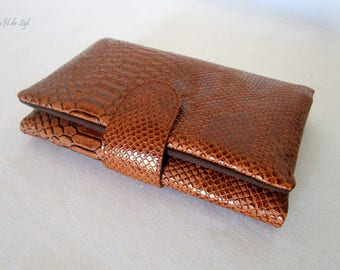 Wallet all in one faux leather dragon tabac color