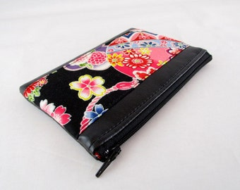 Black imitation leather and fabric purse Japanese ball