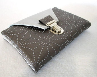 Taupe faux wallet with faux silver and sparkly