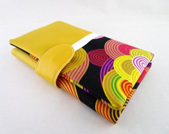 Wallet all in one faux leather fabric and yellow psychedelic circles