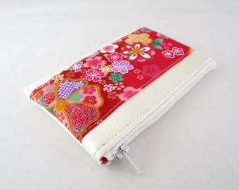 Wallet in faux leather fabric and ivory Japanese red floral