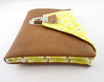 Wallet, card holder, wallet in faux brown leather effect and Yellow Peacock fabric