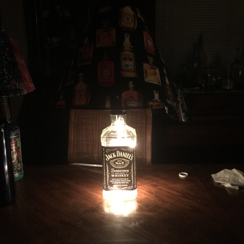 Repurposed upcycled Man Cave Rustic decor Alcohol Large Jack Daniels Bottle Lamp Fathers Day
