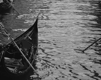 "Venice Photography, ""Vacant"", Gondola, black and white print, fine art photography, wall art"