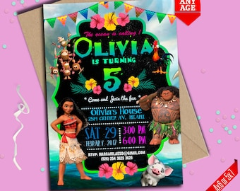 Moana Invitation, Moana Invitation, Moana summer invitation, Moana summer party, Moana Party Invite, to Any age. M004
