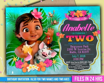 Baby Moana Invitation Digital File PERSONALIZED With Your Info Ready To Print 4x6 Or 5x7 Inch And Deco Package Thank You Card M049
