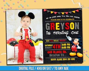MICKEY MOUSE Invitation Whit Photo Mickey Disney Mouse BirthdayBirthday To Any Age Mk22